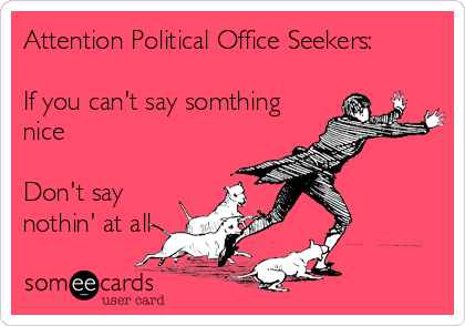 Attention Political Office Seekers:  If you can't say somthing nice  Don't say nothin' at all