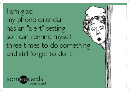 "I am glad  my phone calendar    has an ""alert"" setting    so I can remind myself  three times to do something and still forget to do it."