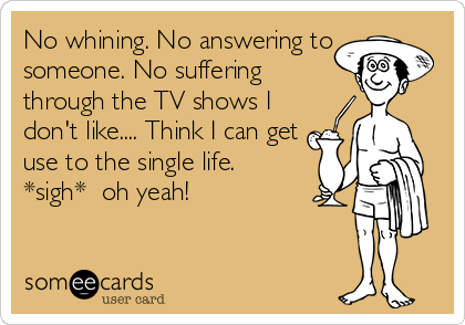 No whining. No answering to someone. No suffering through the TV shows I don't like.... Think I can get use to the single life.  *sigh*  oh yeah!
