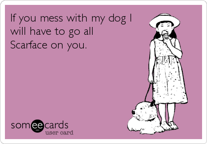 If you mess with my dog I  will have to go all  Scarface on you.