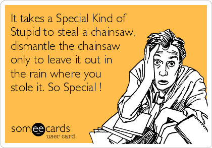 It takes a Special Kind of Stupid to steal a chainsaw, dismantle the chainsaw only to leave it out in the rain where you stole it. So Special !