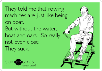 They told me that rowing machines are just like being on boat.  But without the water, boat and oars.  So really not even close.  They suck.