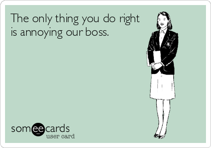 The only thing you do right is annoying our boss.