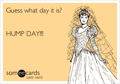 Guess what day it is?   HUMP DAY!!!