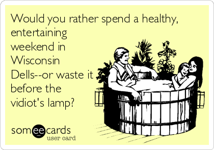 Would you rather spend a healthy, entertaining weekend in Wisconsin Dells--or waste it before the vidiot's lamp?