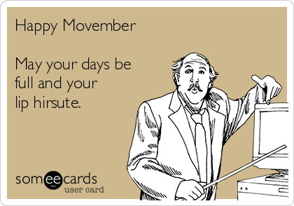 Happy Movember  May your days be  full and your  lip hirsute.