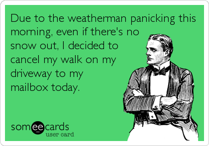 Due to the weatherman panicking this morning, even if there's no snow out, I decided to cancel my walk on my driveway to my mailbox today.