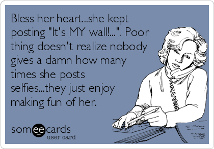 "Bless her heart...she kept posting ""It's MY wall!..."". Poor thing doesn't realize nobody gives a damn how many times she posts selfies...they just enjoy making fun of her."