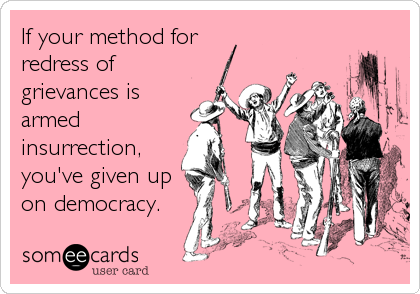 If your method for  redress of grievances is armed insurrection,  you've given up on democracy.
