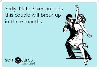 Sadly, Nate Silver predicts this couple will break up in three months.