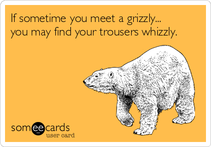 If sometime you meet a grizzly... you may find your trousers whizzly.