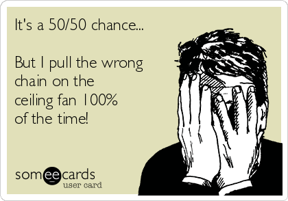 It's a 50/50 chance...  But I pull the wrong chain on the  ceiling fan 100% of the time!