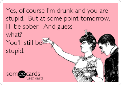 Yes, of course I'm drunk and you are stupid.  But at some point tomorrow, I'll be sober.  And guess what?   You'll still be stupid.