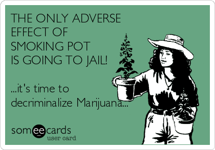 THE ONLY ADVERSE EFFECT OF SMOKING POT  IS GOING TO JAIL!  ...it's time to decriminalize Marijuana...