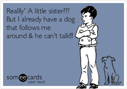 Reallly' A little sister???    But I already have a dogthat follows mearound & he can't talk!!!