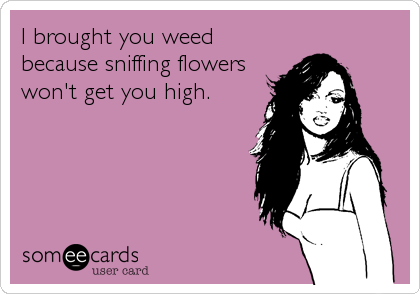 I brought you weed because sniffing flowers won't get you high.