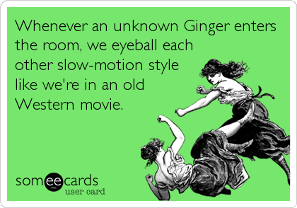 Whenever an unknown Ginger enters the room, we eyeball each other slow-motion style like we're in an old Western movie.