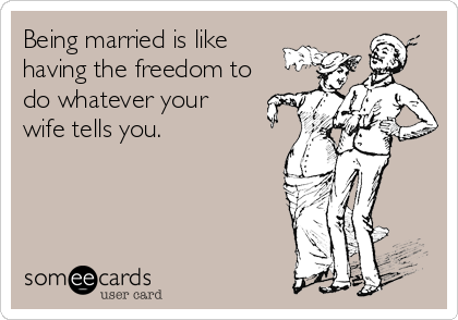 Being married is like  having the freedom to  do whatever your  wife tells you.