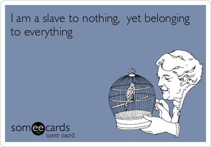 I am a slave to nothing,  yet belonging to everything