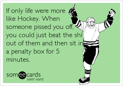 If only life were more like Hockey. When someone pissed you off, you could just beat the shit out of them and then sit in a penalty box for 5 minutes.