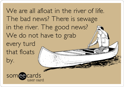 We are all afloat in the river of life. The bad news? There is sewage in the river. The good news? We do not have to grab every turd that%