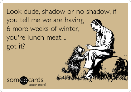 Look dude, shadow or no shadow, if you tell me we are having 6 more weeks of winter, you're lunch meat.... got it?