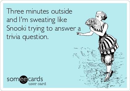 Three minutes outside and I'm sweating like Snooki trying to answer a trivia question.