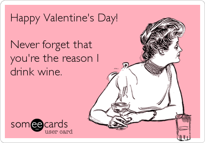 Happy Valentine's Day!  Never forget that you're the reason I drink wine.