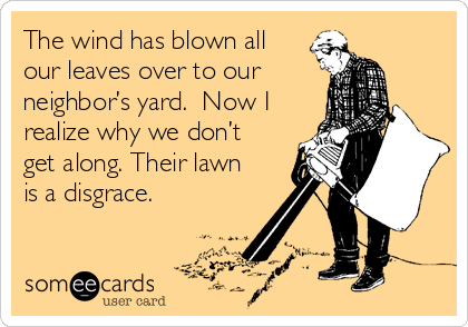 The wind has blown all our leaves over to our neighbor's yard.  Now I realize why we don't get along. Their lawn is a disgrace.