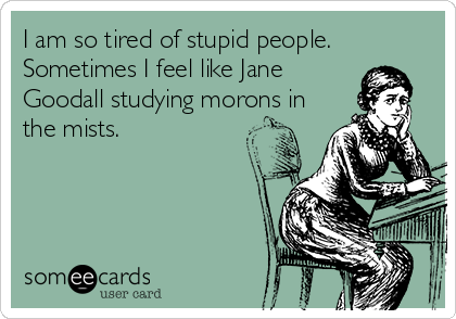 I am so tired of stupid people. Sometimes I feel like Jane Goodall studying morons in the mists.