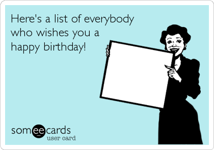 Here's a list of everybody who wishes you a happy birthday!