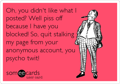 Oh, you didn't like what I  posted? Well piss off because I have you blocked! So, quit stalking my page from your anonymous account, you psycho twit!
