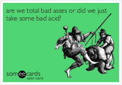 are we total bad asses or did we just take some bad acid?