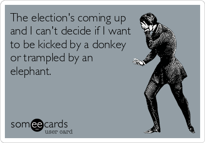 The election's coming up and I can't decide if I want to be kicked by a donkey or trampled by an elephant.