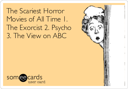 The Scariest Horror Movies of All Time 1. The Exorcist 2. Psycho 3. The View on ABC