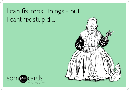 I can fix most things - but I cant fix stupid....