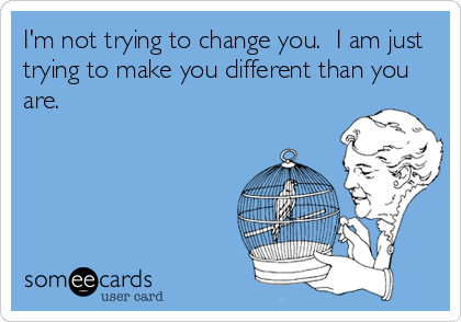 I'm not trying to change you.  I am just trying to make you different than you are.