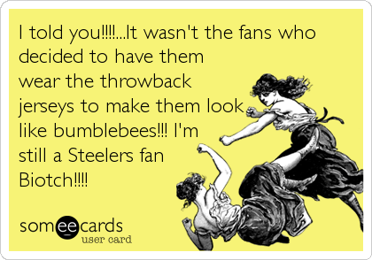 I told you!!!!...It wasn't the fans who decided to have them wear the throwback jerseys to make them look like bumblebees!!! I'm still a Steelers fan%