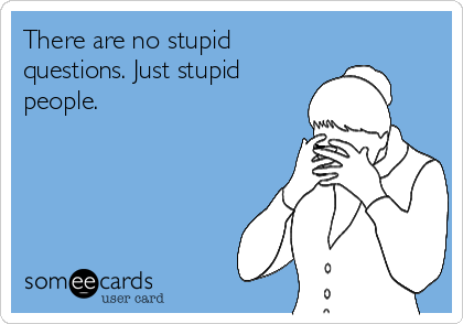 There are no stupid  questions. Just stupid people.
