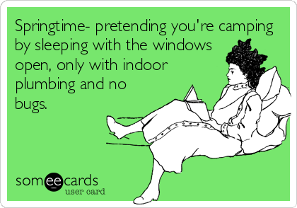 Springtime- pretending you're camping by sleeping with the windows open, only with indoor plumbing and no bugs.
