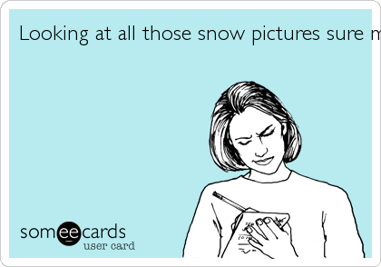Looking at all those snow pictures sure make me want to move North - Said nobody EVER!
