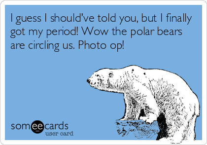 I guess I should've told you, but I finally got my period! Wow the polar bears are circling us. Photo op!