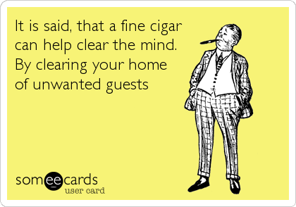 It is said, that a fine cigar can help clear the mind. By clearing your home  of unwanted guests