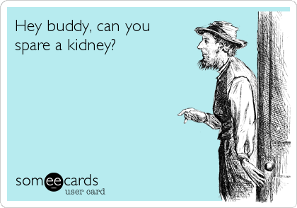 Hey buddy, can you  spare a kidney?