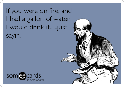 If you were on fire, and I had a gallon of water, I would drink it......just sayin.