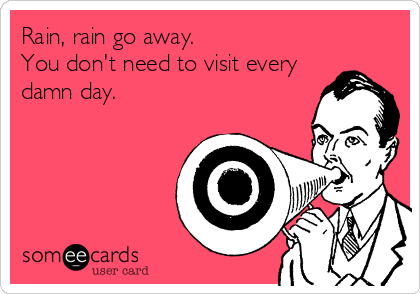 Rain, rain go away.  You don't need to visit every damn day.