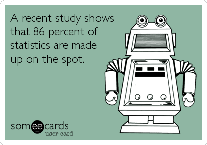A recent study shows that 86 percent of statistics are made up on the spot.