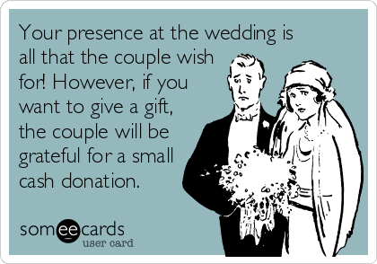 Your presence at the wedding is all that the couple wish for! However, if you want to give a gift, the couple will be grateful for a small cash donation.