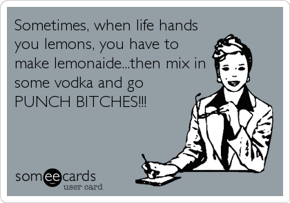 Sometimes, when life hands you lemons, you have to make lemonaide...then mix in some vodka and go PUNCH BITCHES!!!