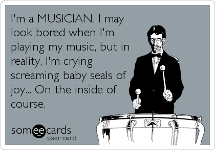 I'm a MUSICIAN, I may look bored when I'm playing my music, but in reality, I'm crying screaming baby seals of joy... On the inside of course.